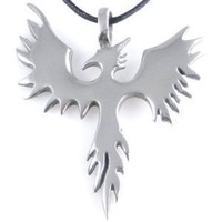 Dan Jewelers Phoenix Bird Firebird Pewter Pendant Necklace