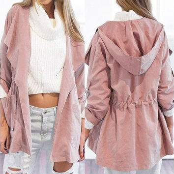 Women's Casual Hooded Windbreaker Jacket Turndown Collar Overcoat Outwear Coat [8805110535]