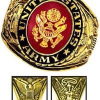 Army Ring - 18K Heavy Gold Electroplated Ring with Stone - Army Military Ring - US Army - for Military gear Army Uniform Veteran Ring. SIZE 14