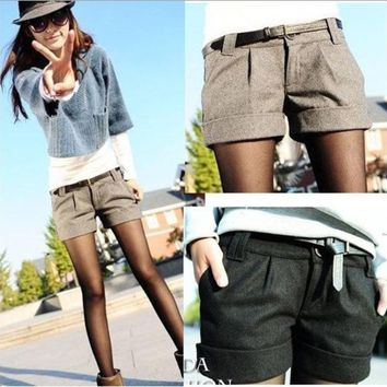 ICIKL3Z 2015 autumn and winter women's turn-up straight woolen bootcut short pants plus large big size casual shorts black grey