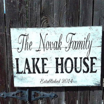 Lake House Sign Beach House Sign Pallet Sign Rustic Personalized Pallet  Custom Pallet Distressed Wood Sign Wedding Gift Housewarming Gift