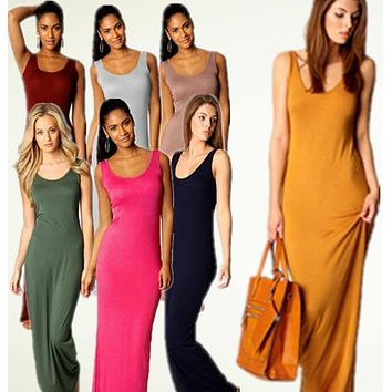Women Summer 13 Colors Casual Maxi Sleeveless Long Vest Cotton Dress Vestido de festa Bodycon Party Evening Bandage Dresses