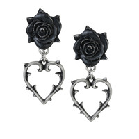 Alchemy Gothic Wounded Love Earrings Black Rose Heart Thorns