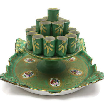 Cigarette Holder - Porcelain, Ashtray and Cigarette Stand, Green Gold, Czech