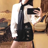 dior women temperament fashion bee embroidery necktie long sleeve shirt double row buttons short skirt set two piece