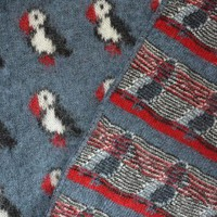 Icelandic Blanket - Blue with puffins