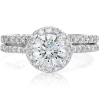 1.54CT Diamond Halo Engagement Ring Wedding Band Set 14K White Gold SZ 7.5 IGI Certified