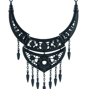 Boho Goth Black Lace Floral Moon Collar Necklace Pendant