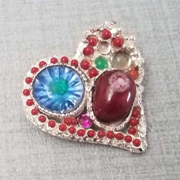 Matte silver metal with pearls and rhinestones very colorful, vintage brooch Christian Lacroix