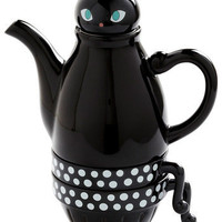 Paw Me a Cup Tea Set in Cat | Mod Retro Vintage Kitchen | ModCloth.com