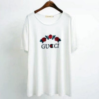 GUCCI Fashion Flower Embroidery Scoop Neck Tunic Shirt Top Blouse