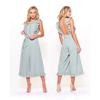 shooting for the stars woven wide leg jumpsuit with lace eyelet detail and open back in sage