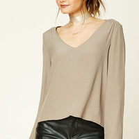 Crepe Bell-Sleeve Top