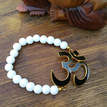 Original Collection - Black Om Pendant/White Beaded Hand Made Bracelet