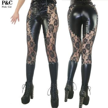 DCCKL3Z 2017 New Gothic Steampunk Pants Clothing Women Laced Up Gothic Punk Rock Leggings Heavy Metal Clothing Studded Faux Leather Pant