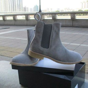 Handmade Mens Desert Boots Kanye West Suede Shoes 100%Genuine Leather Man Motorcycle S