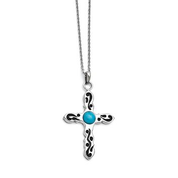 Stainless Steel Polished Imitation Turquoise Black Oil Cross Necklace
