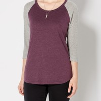 Purple & Gray Thermal Baseball Tee | Long Sleeve | rue21