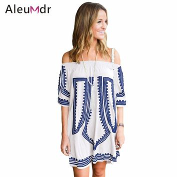 Aleumdr Women Summer Off The Shoulder Beach Dress Bohemian Geometric Printed Tunics For Beach Cotton LC42149 Saia De Praia