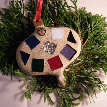 Mosaic Christmas Ornament with Stained Glass
