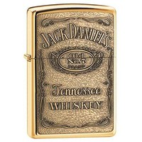 Jack Daniel'S High Polish Brass Zippo Outdoor Indoor Windproof Lighter Free Custom Personalized Engraved Message Permanent Lifetime Engraving on Backside