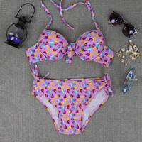 Ice Cream Print Push Up Bikini Set Bandage Swimwear Swimsuit