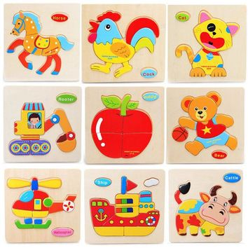 DCCKL72 Quality Promotion Colorful Wooden Animal Puzzle Educational Toys Developmental Baby Toy Child Early Training Game Free Shipping