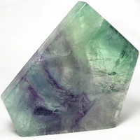 Polished Green and Purple Fluorite Stone Slab Polygon,  Wear it or Display it, Imperfect