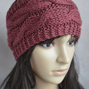 Terracotta Headband, Terracotta Hair Accessories, Hand Knit Double Cable Ear Warmer, Soft and Warm Headband, Wool and Acrylic Blend