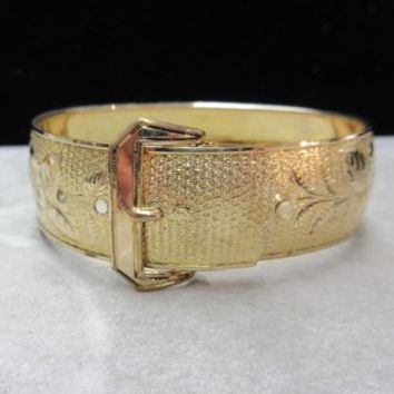 Antique Vintage B.B. Co. Gold Filled Etched Buckle Bangle Bracelet Floral Motif