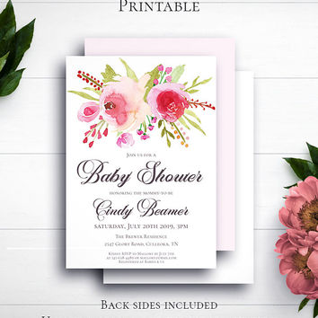 Floral Girl Baby Shower Invitation, Personalized Invite, Printable Invite, Watercolor Flower, Newborn, Customized