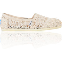 Toms Classics Natural Colored Crochet Girls Slip On Shoe
