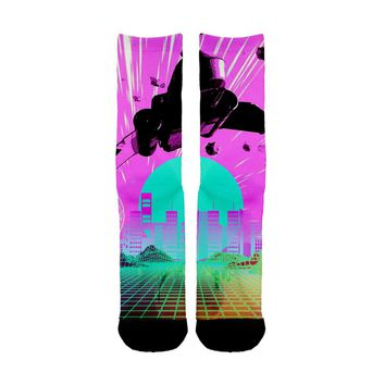 Vaporwave Jet brush Socks