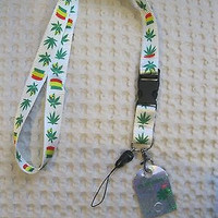 "White w/ Rasta Stripes Marijuana MJ Weed Leaves 15"" Lanyard ID Holder Keychain"