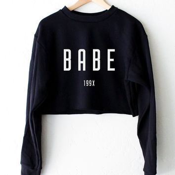 Babe 199x Oversized Cropped Sweater - Black