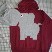 Elephant trunk sleeve HOODIE sweatshirt shirt jumper Maroon UNISEX LARGE