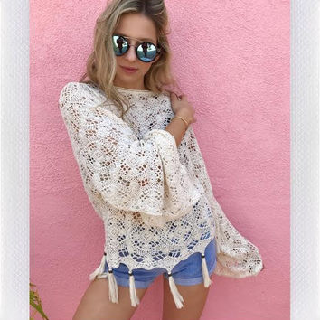 NAVAGIO BELL SLEEVE CROCHET TOP- CREAM