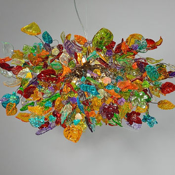 Hanging chandeliers. Colorful flowers and leaves.