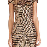 Sequin Embellished Gold Backless Sheath Dress