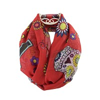Bohemian Rock Day of the Dead Sugar Skull & Flower Infinity Scarf