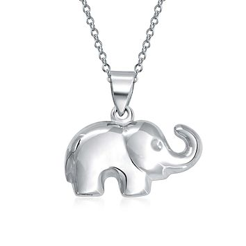 Good Luck Elephant Zoo Animal Pendant 925 Sterling Silver Necklace