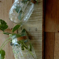 Topsy Turvy Two Mason Jars mounted on recycled wood wall decor
