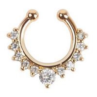 High Quality Titanium Crystal Fake Nose Ring Septum Piercing Hanger Clip On Body Jewelry -03130
