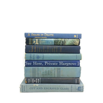 Collection of Vintage Blue Books, Distressed Books, Decorative Books,Wedding Decor, Home Decor, Interior Design,Instant Book Collection,Blue