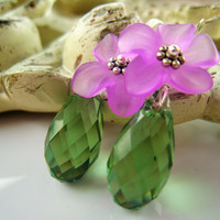Lucite Flower Earrings Swarovski Green Crystal Spring