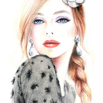 Colored Pencial Drawing - Chanel Camellia Fashion Inspired Illustration