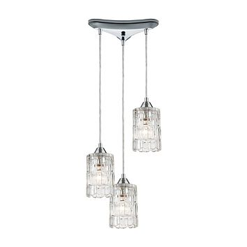 Ezra 3-Light Triangular Mini Pendant Fixture in Polished Chrome with Textured Clear Crystal