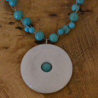 White Donut Pendant Necklace with Green/Blue Turquoise beads