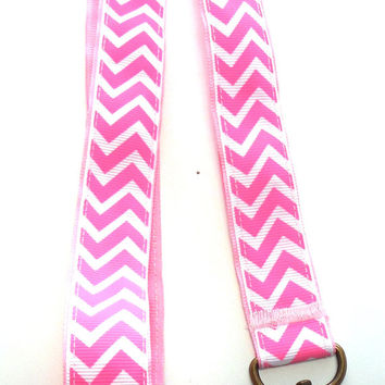 Pink and White Striped, Chevron Ribbon Lanyard, Key Holder, ID Holder