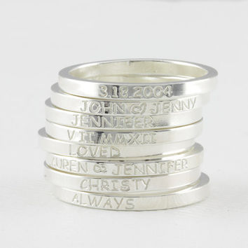 skinny personlized ring, name ring, roman rumeral ring, date ring, message ring, word ring,stackable ring, skinny band ring . FT 6